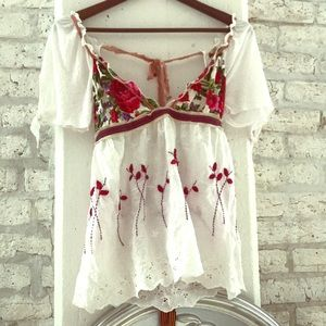 Tops - Floral and cotton top